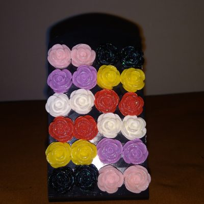 Colourful Glitter Rose Earrings (12 Pairs)
