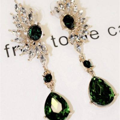 Womens Wing Shape Symmetry Crystal Rhinestone Earrings Colorful Cubic Zircon Waterdrop Earring Fashion Lady's Ear Stud Jewelry